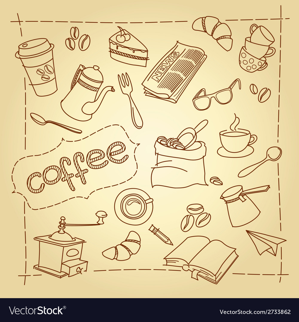Coffee break doodles background vector | Price: 1 Credit (USD $1)