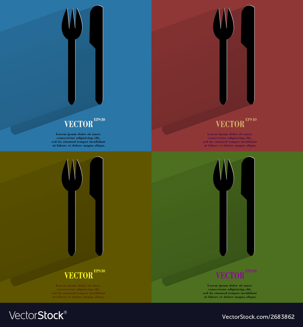 Color set cutlery knife fork flat modern web vector | Price: 1 Credit (USD $1)