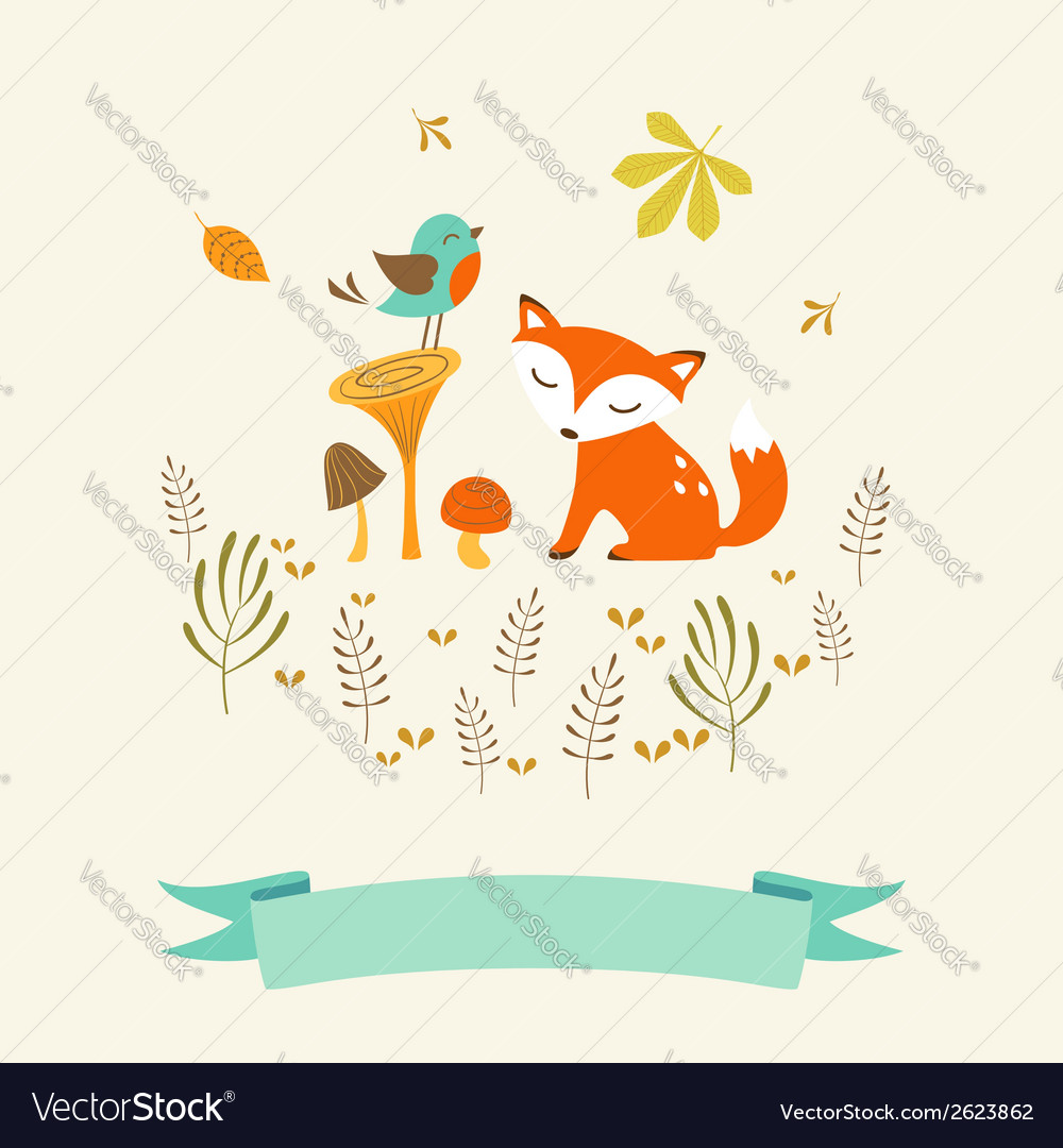 Cute autumn card vector | Price: 1 Credit (USD $1)