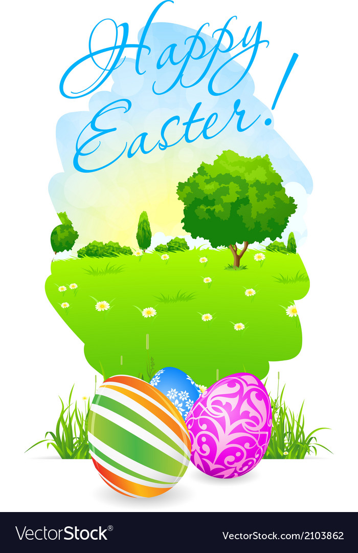 Easter card with landscape and decorated eggs vector | Price: 1 Credit (USD $1)