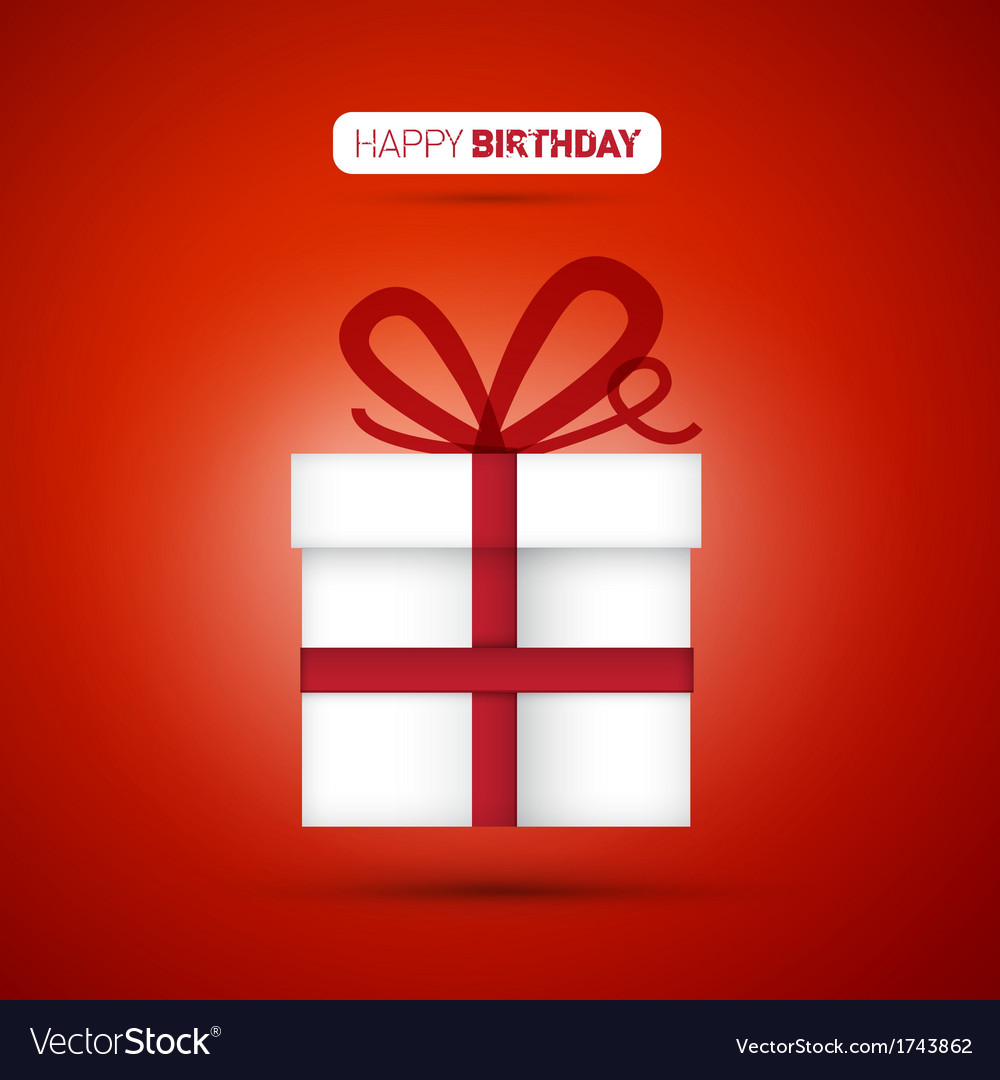 Happy birthday white present on red background vector | Price: 1 Credit (USD $1)