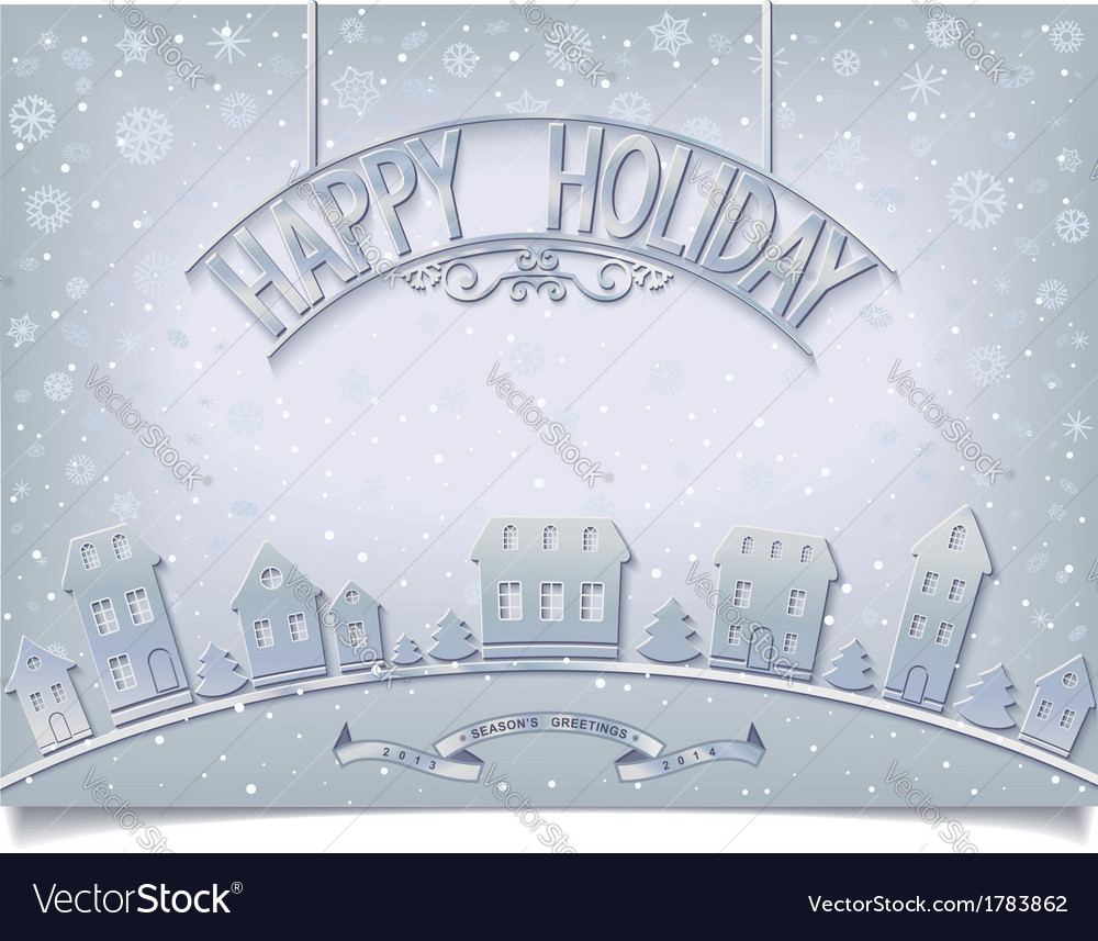 Holiday postcard with silver signboard greeting vector | Price: 1 Credit (USD $1)