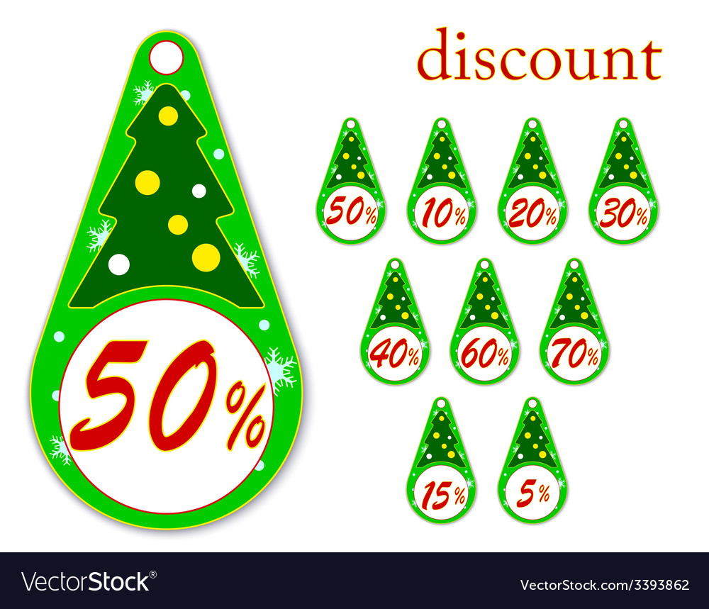 Labels with christmas tree for new years discounts vector | Price: 1 Credit (USD $1)