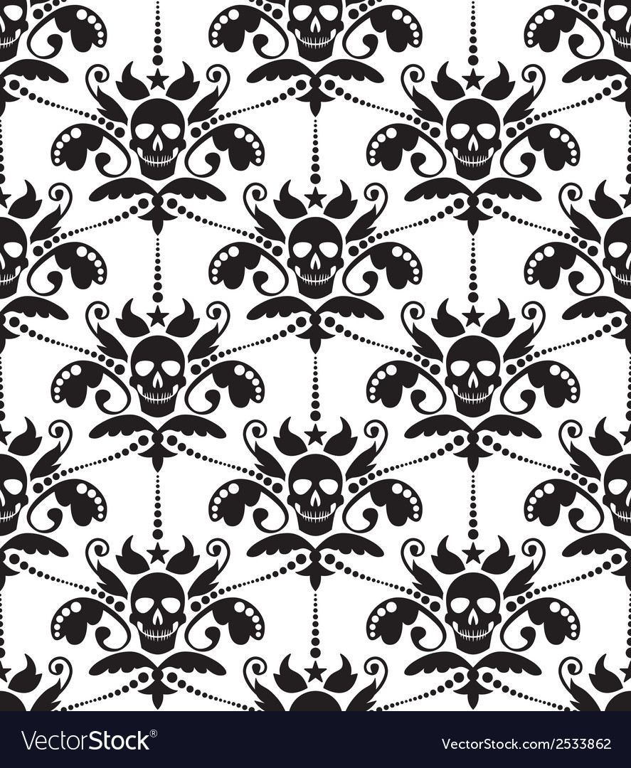 Pattern baroque with skulls vector | Price: 1 Credit (USD $1)