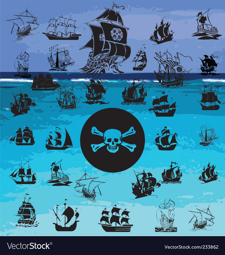 Pirate ship collection vector | Price: 1 Credit (USD $1)