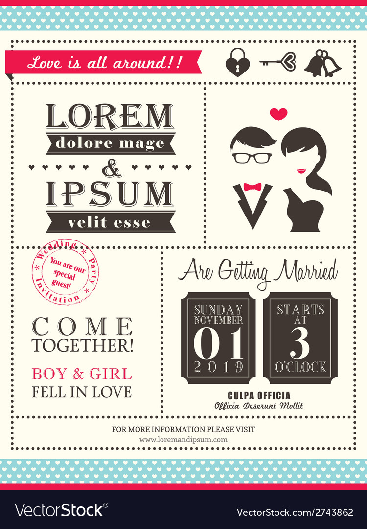 Retro trendy wedding invitation card template vector | Price: 1 Credit (USD $1)