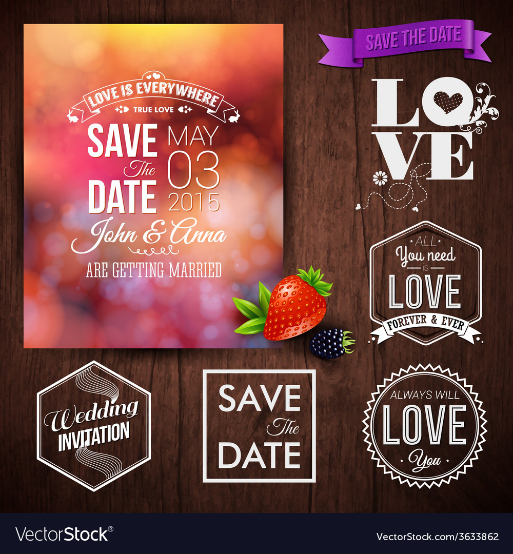 Save the date for personal holiday cards wedding vector | Price: 1 Credit (USD $1)