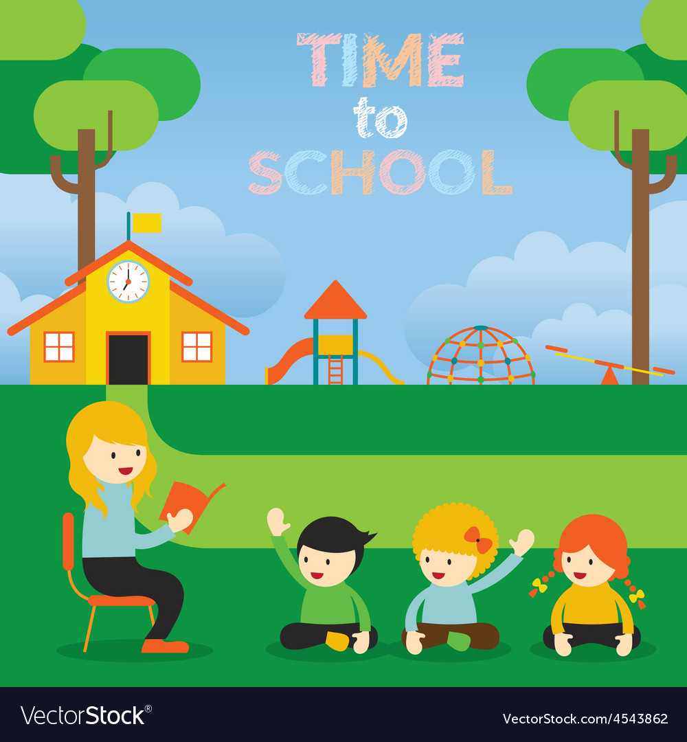 Teacher teach kids on school ground vector   Price: 1 Credit (USD $1)