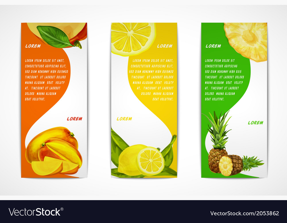 Tropical fruits vertical banner set vector | Price: 1 Credit (USD $1)