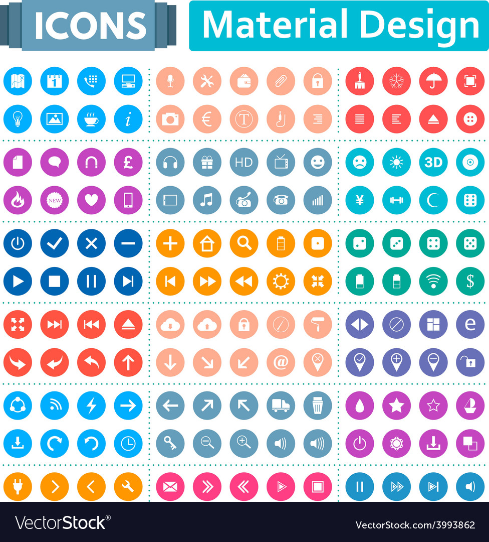 Universal set of icons in the style of material vector | Price: 1 Credit (USD $1)