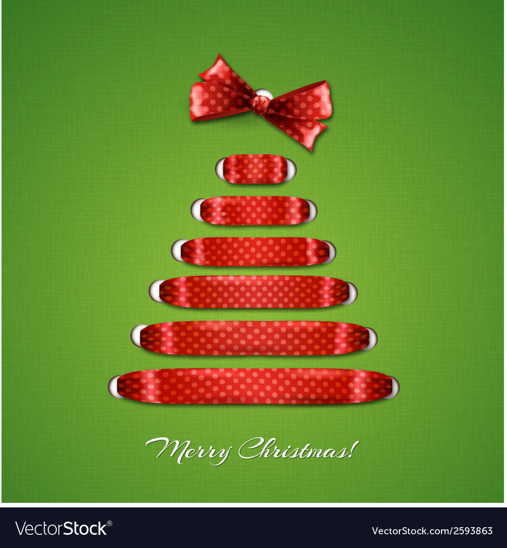 Christmas tree from red ribbon background vector | Price: 1 Credit (USD $1)