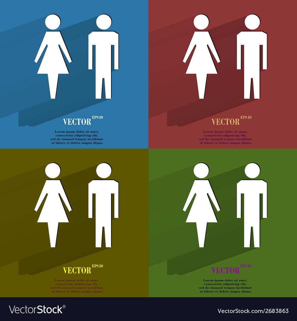 Color set suluet men women flat modern web button vector | Price: 1 Credit (USD $1)