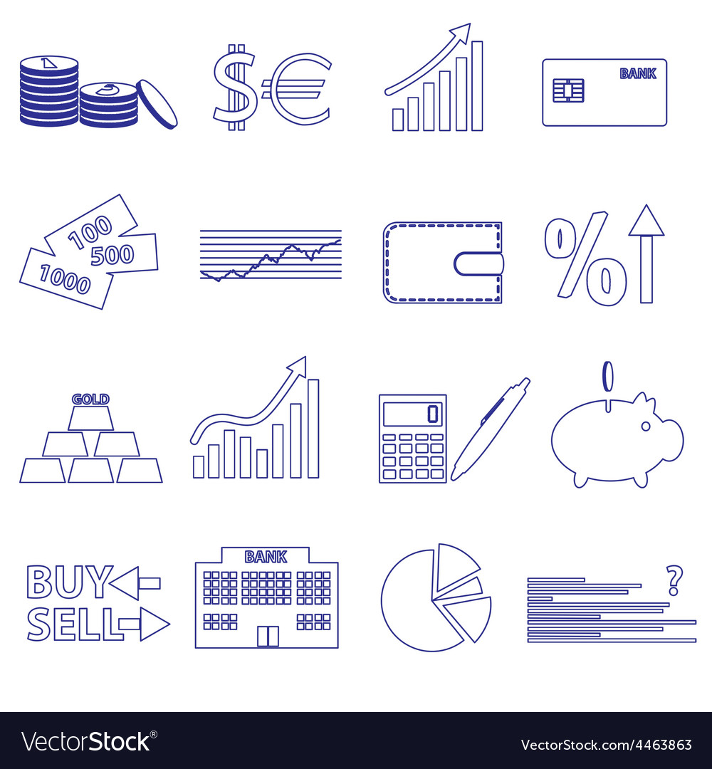 Financial and money blue outline icons set eps10 vector | Price: 1 Credit (USD $1)