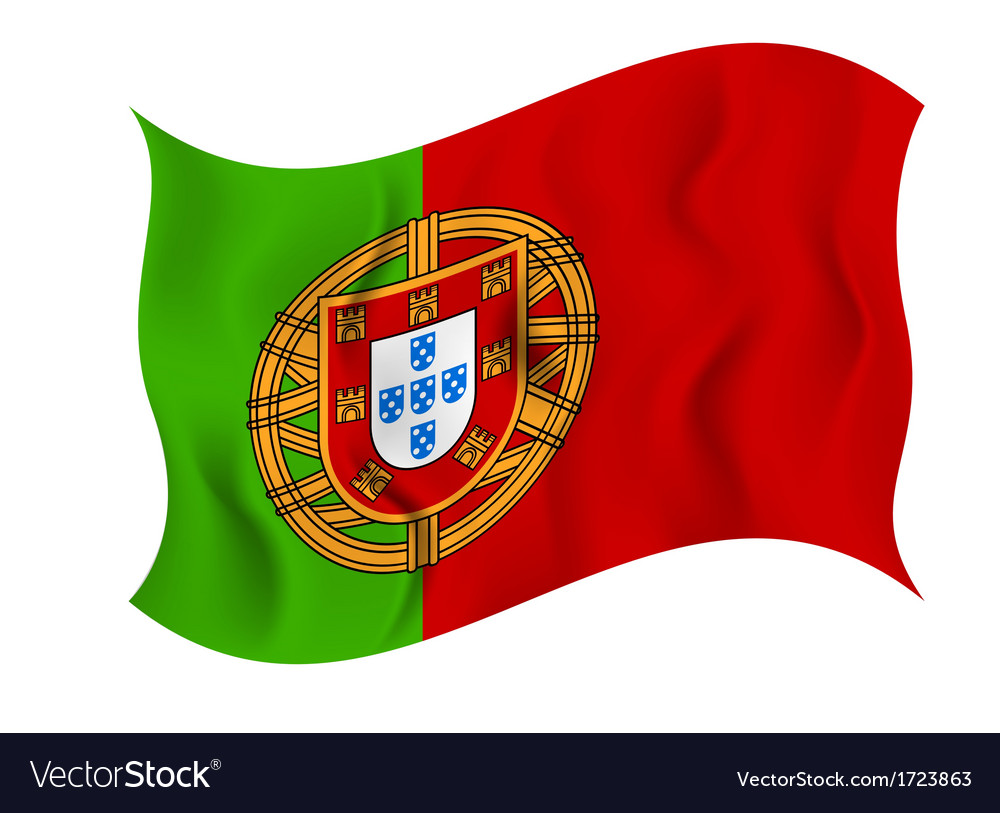 Flag of portugal on a white background vector | Price: 1 Credit (USD $1)