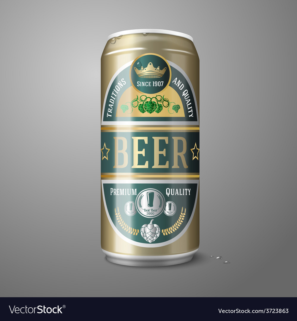 Golden beer can with label isolated on gray vector | Price: 1 Credit (USD $1)