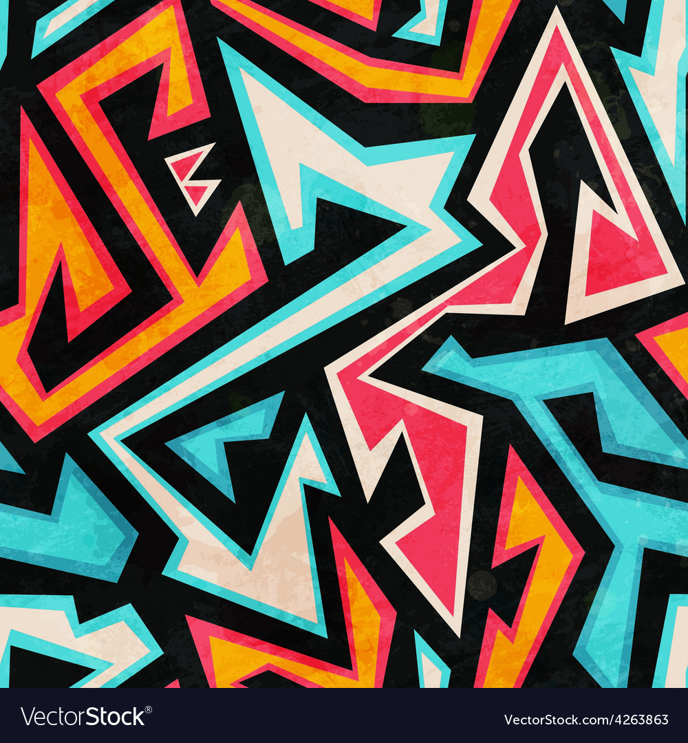 Graffiti seamless pattern with grunge effect vector | Price: 1 Credit (USD $1)