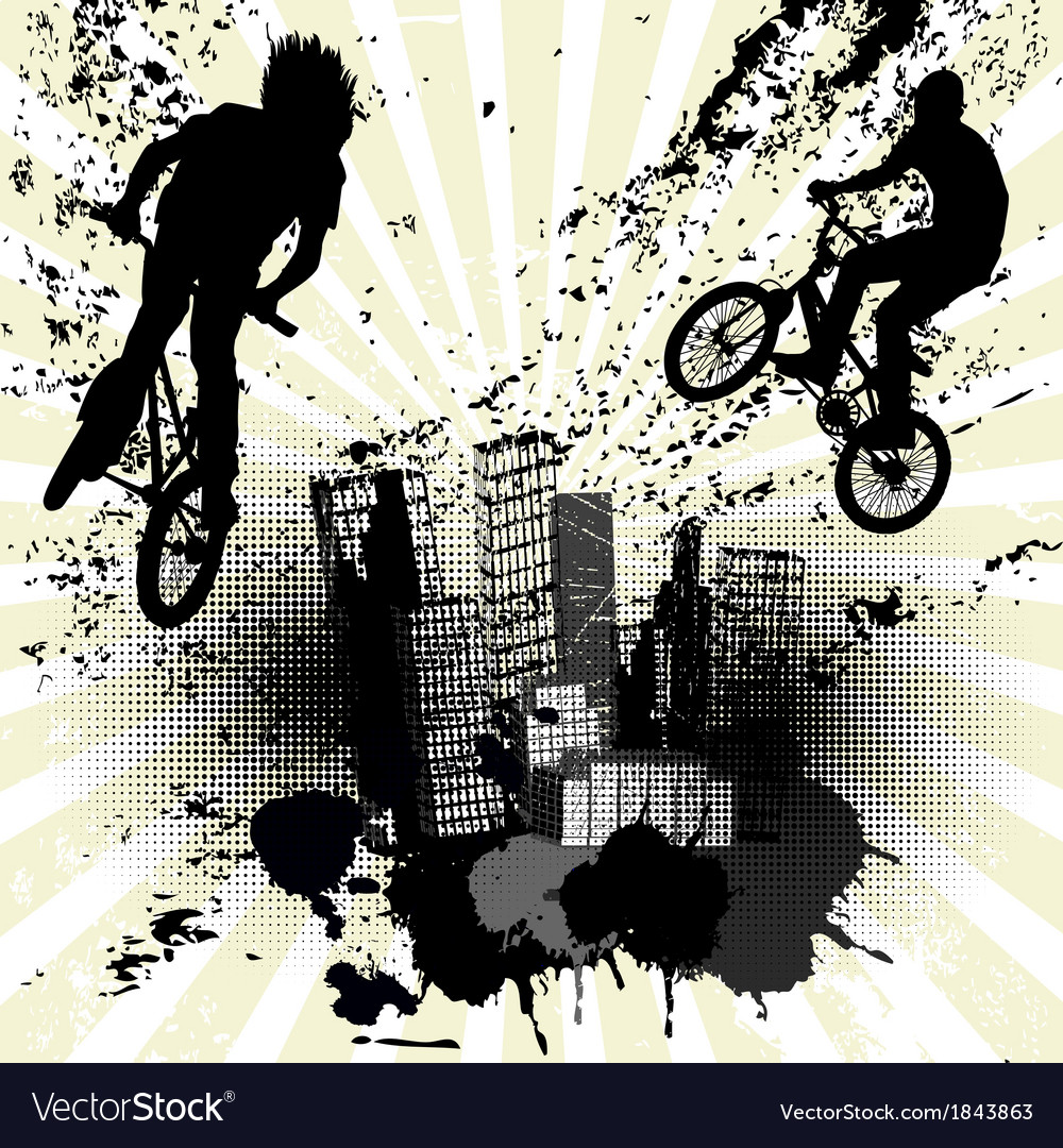 Grunge background with two bikers and city skyline vector | Price: 1 Credit (USD $1)