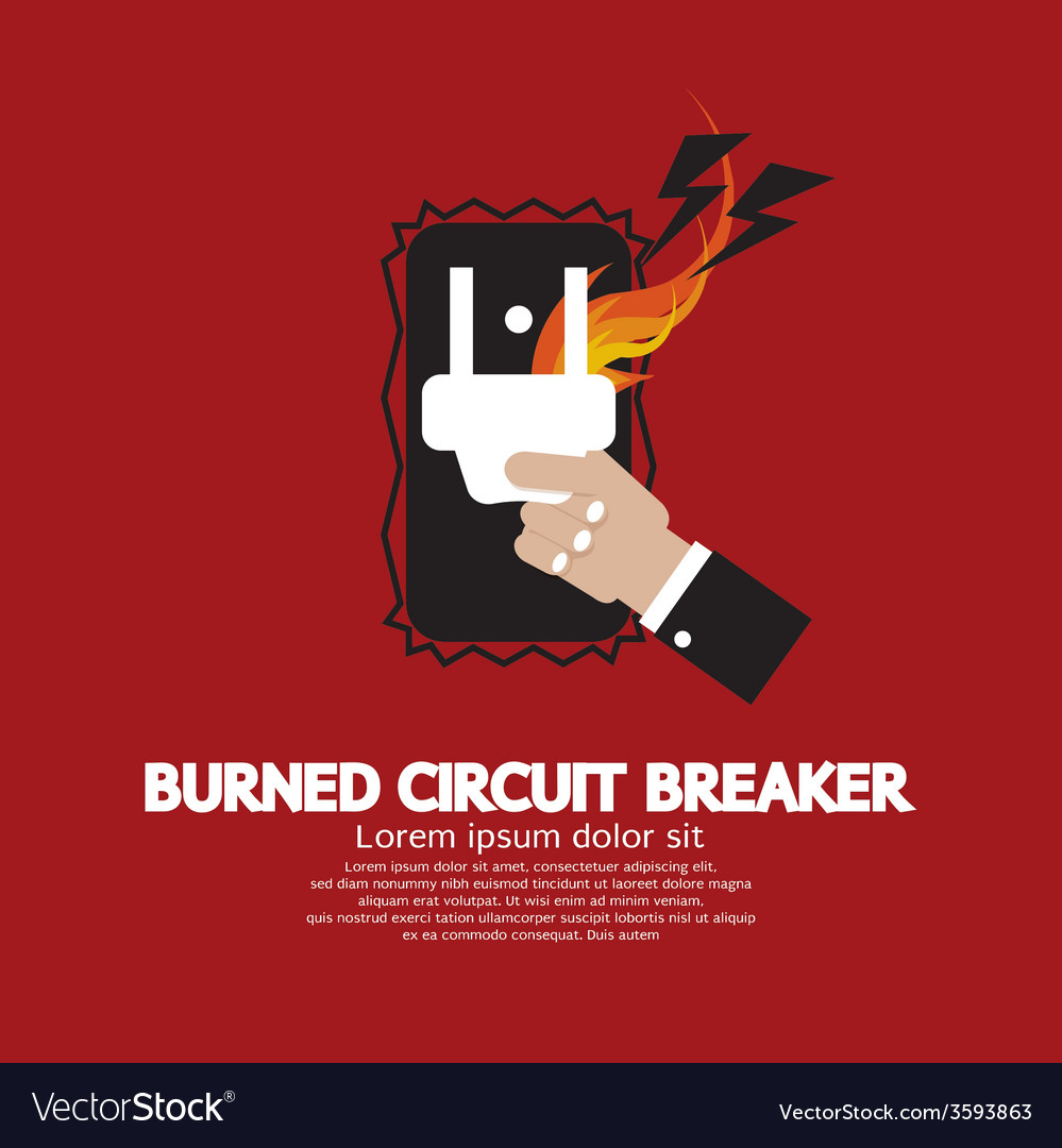 Hand switching burned circuit breaker vector | Price: 1 Credit (USD $1)