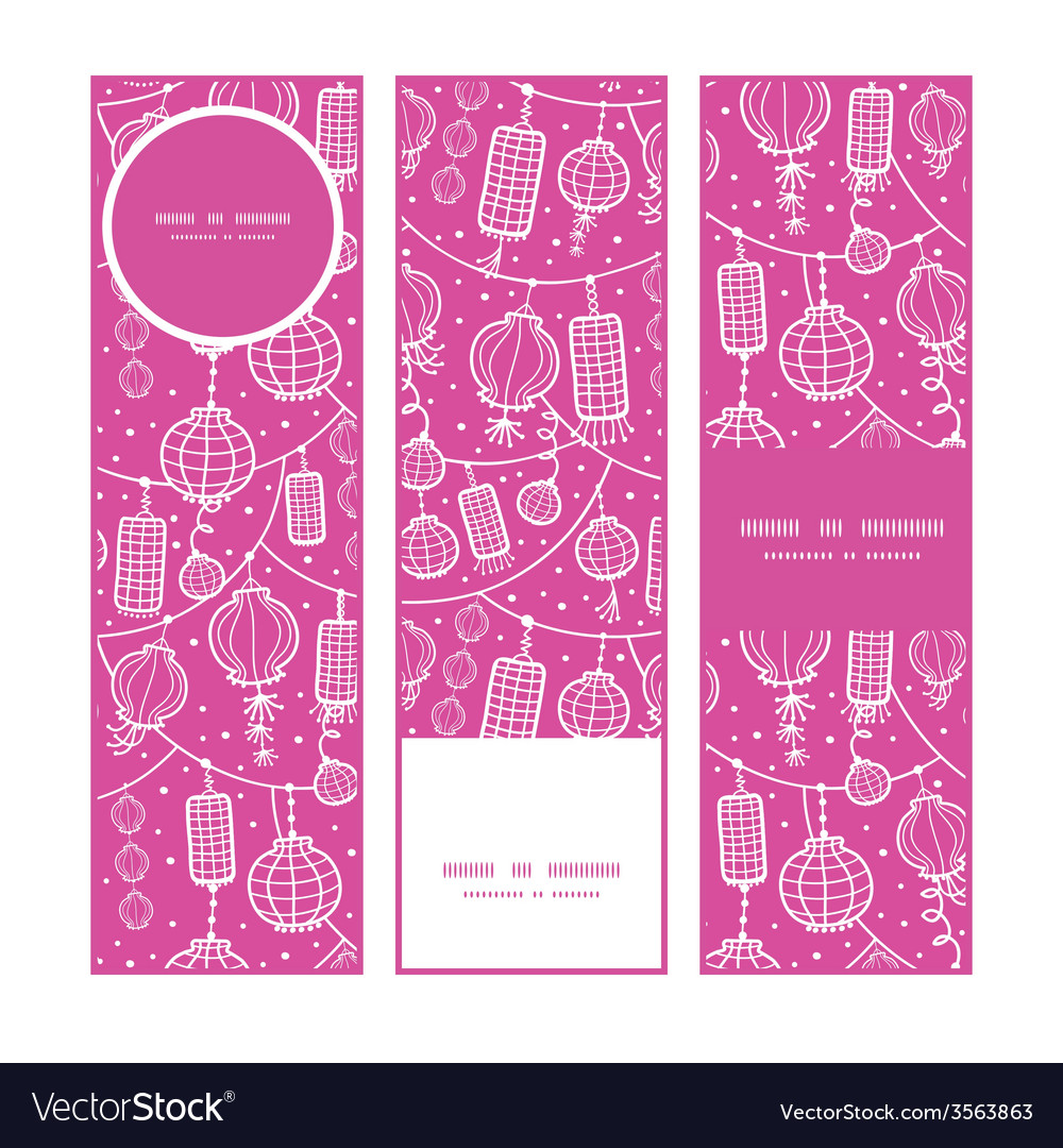 Holiday lanterns line art vertical banners set vector | Price: 1 Credit (USD $1)