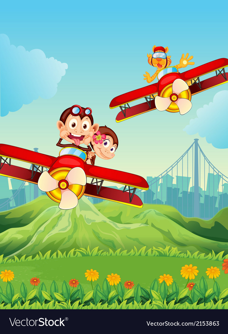 Planes with playful animals vector | Price: 3 Credit (USD $3)