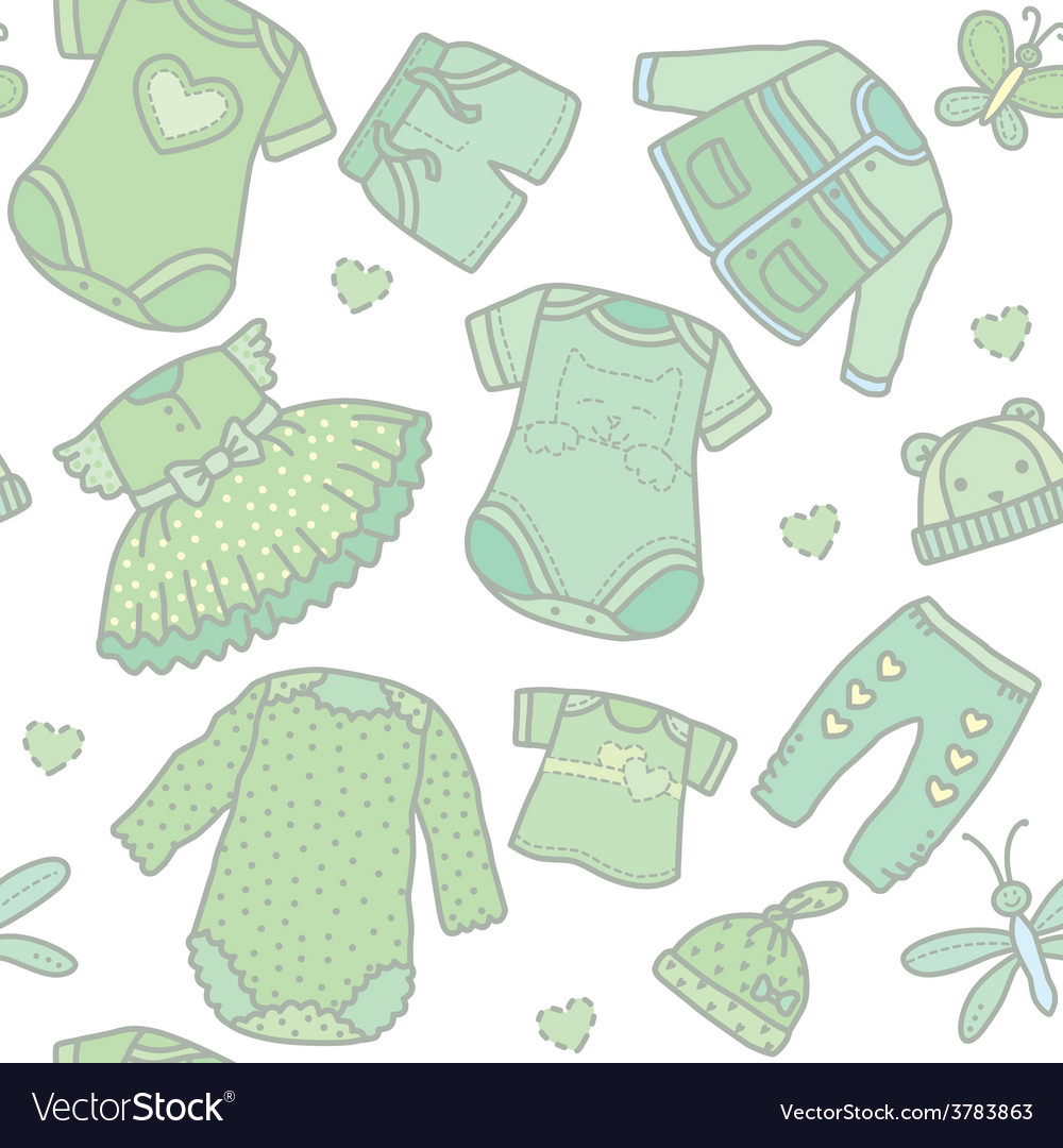 Seamless pattern baby clothes vector | Price: 1 Credit (USD $1)