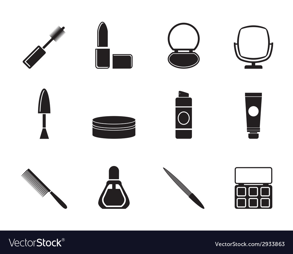 Silhouette cosmetic and make up icons vector | Price: 1 Credit (USD $1)