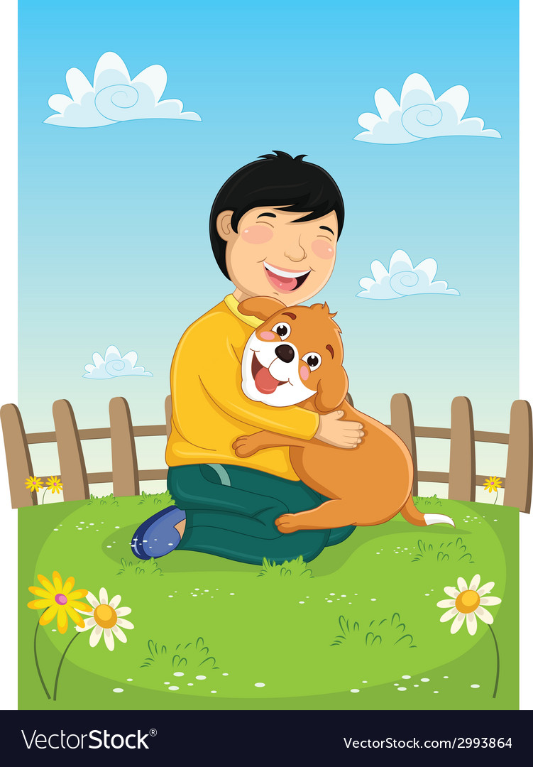 Boy playing with dog vector | Price: 1 Credit (USD $1)