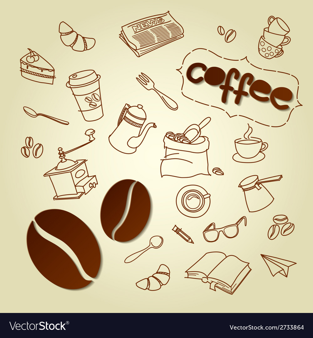 Coffee break menu doodles background vector | Price: 1 Credit (USD $1)