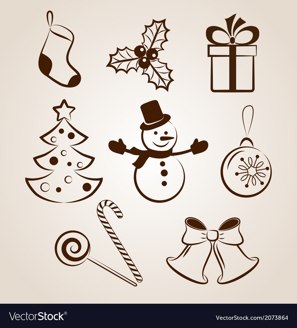 Collection of christmas icons or objects vector | Price: 1 Credit (USD $1)