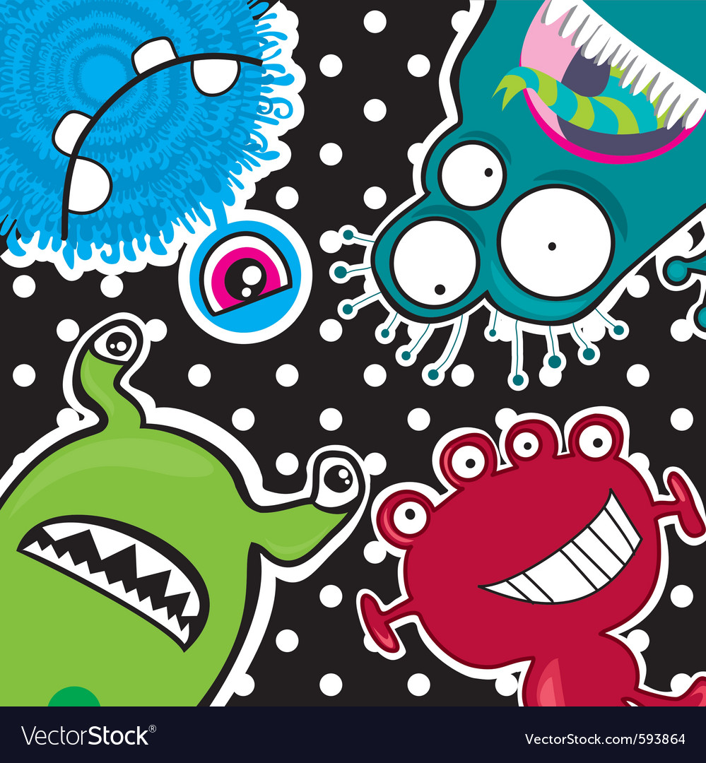 Cute little funny monsters vector | Price: 1 Credit (USD $1)