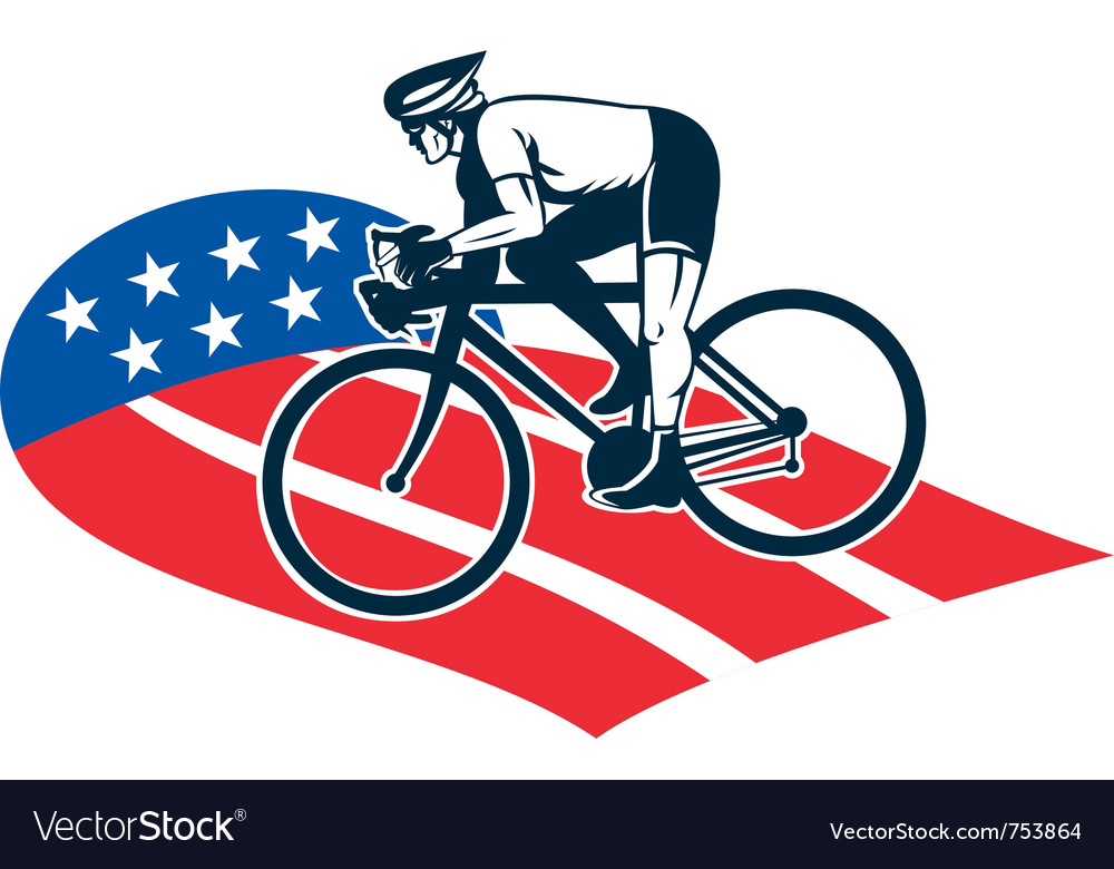 Cyclist riding racing bike set inside oval vi vector | Price: 1 Credit (USD $1)