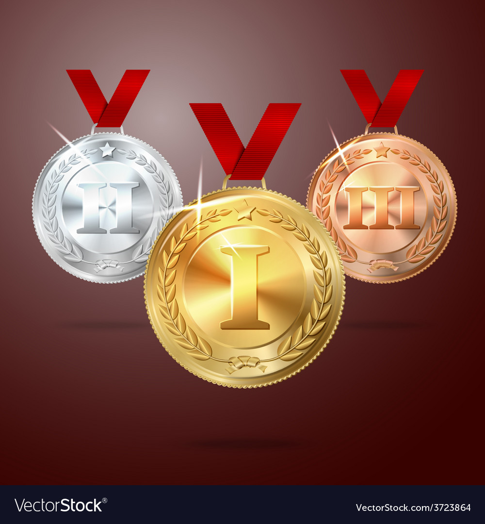 Golden silver and bronze medal set with vector | Price: 1 Credit (USD $1)