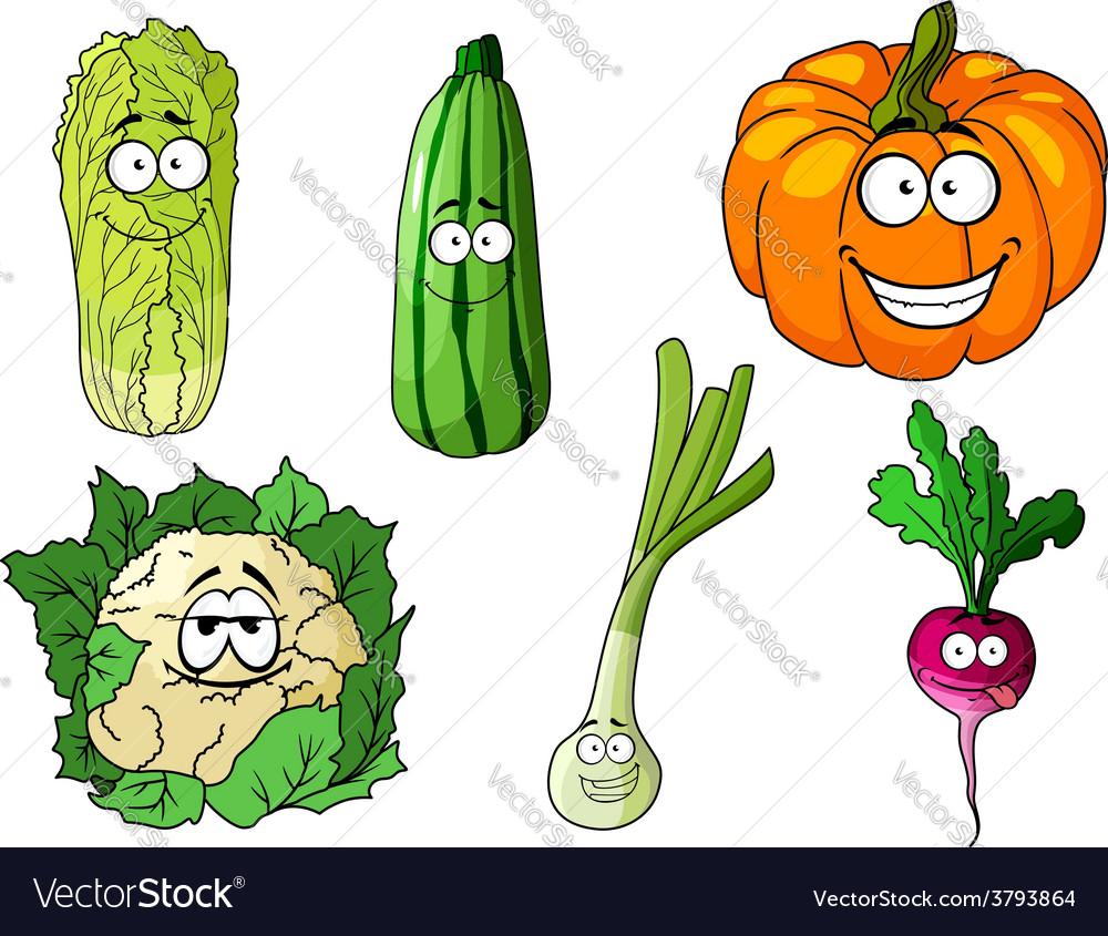 Happy colorful fresh cartoon vegetables vector | Price: 1 Credit (USD $1)