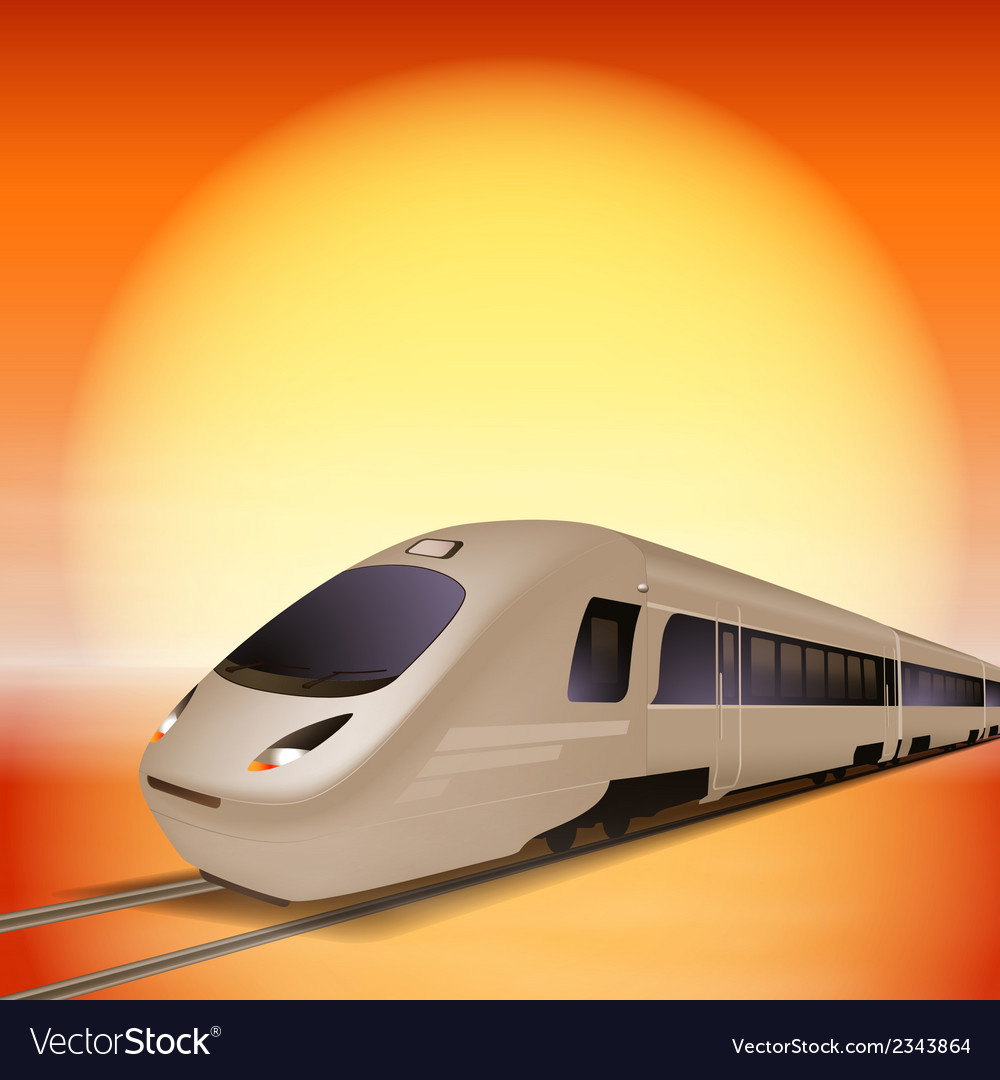 High-speed train with big sun over background vector | Price: 1 Credit (USD $1)