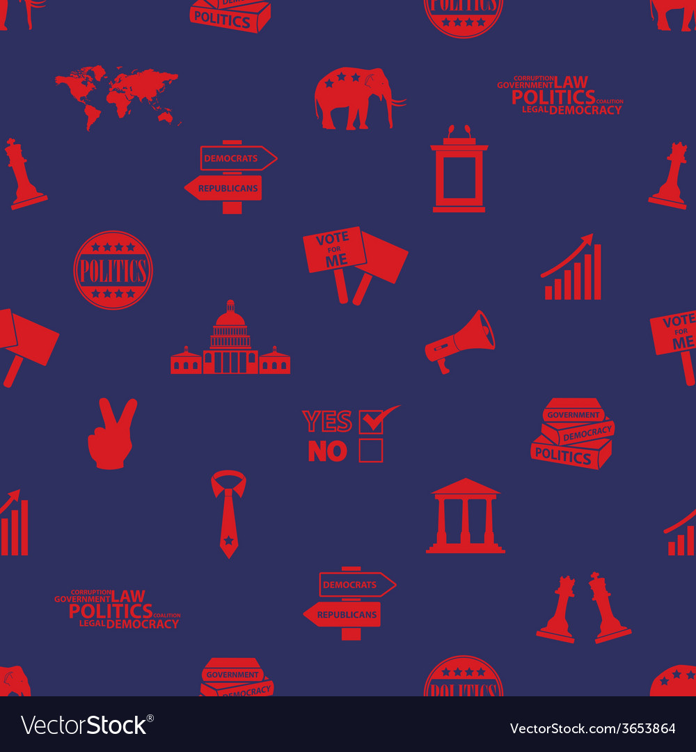 Politics red and blue icons seamless pattern eps10 vector | Price: 1 Credit (USD $1)