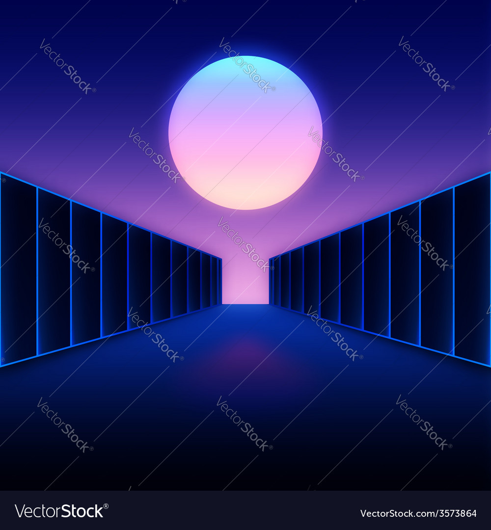 Retro futuristic digital landscape with moon and vector | Price: 1 Credit (USD $1)