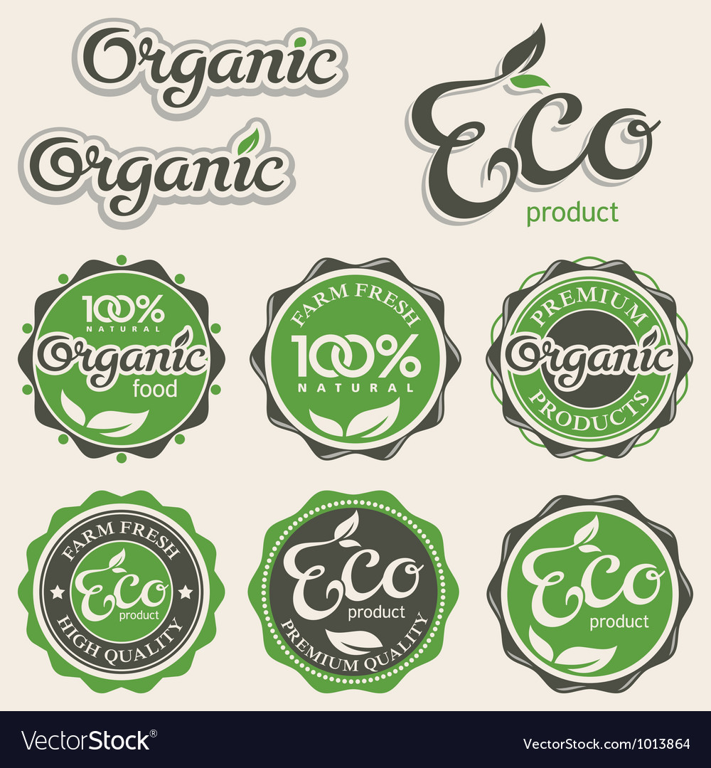 Set of eco labels vector | Price: 1 Credit (USD $1)