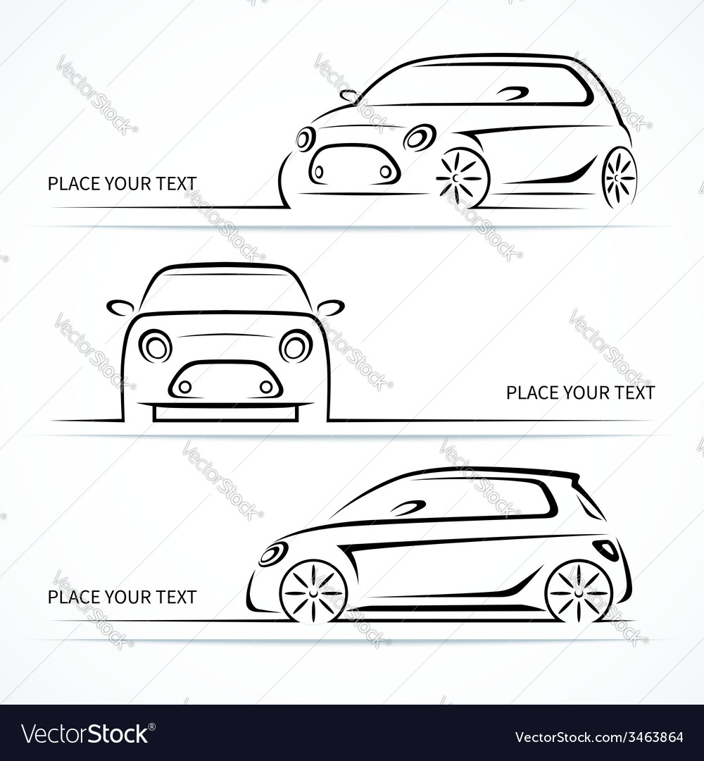 Set of modern compact car silhouettes vector | Price: 1 Credit (USD $1)