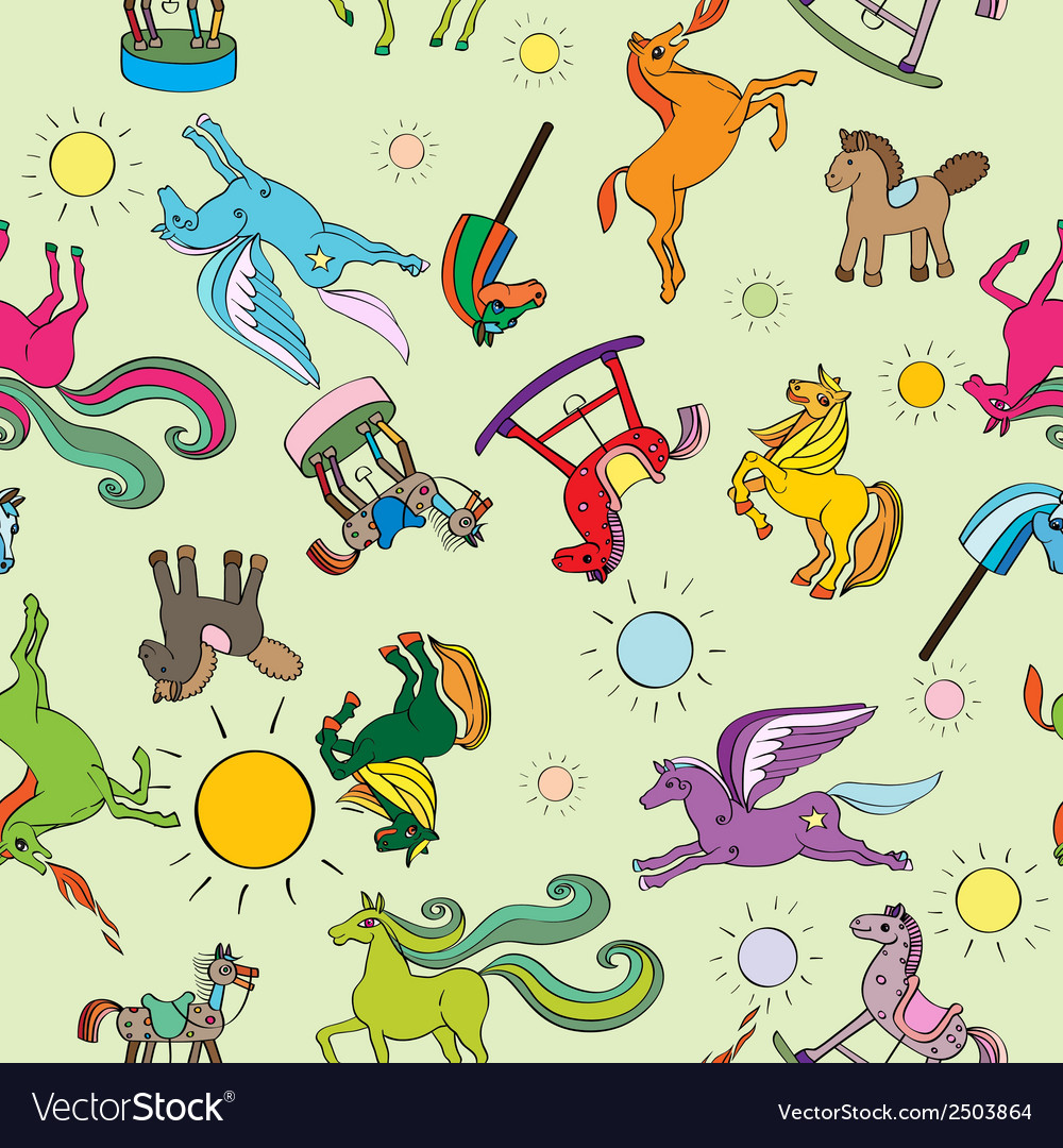 Toy horses pattern vector | Price: 1 Credit (USD $1)