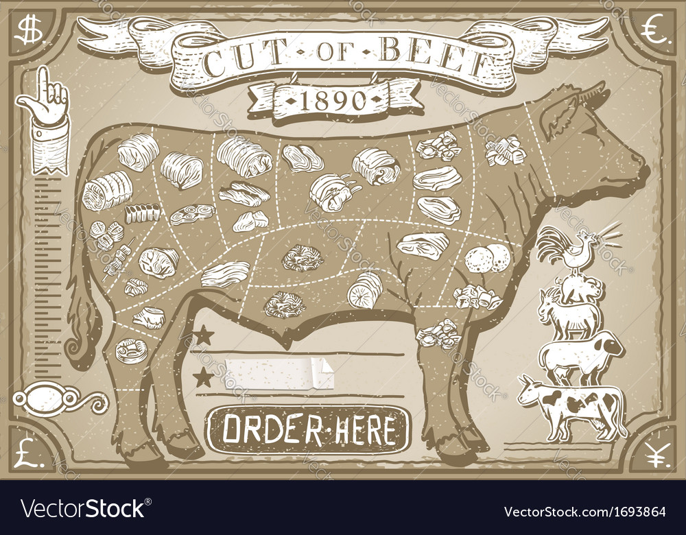 Vintage graphic page for butcher shop vector | Price: 1 Credit (USD $1)