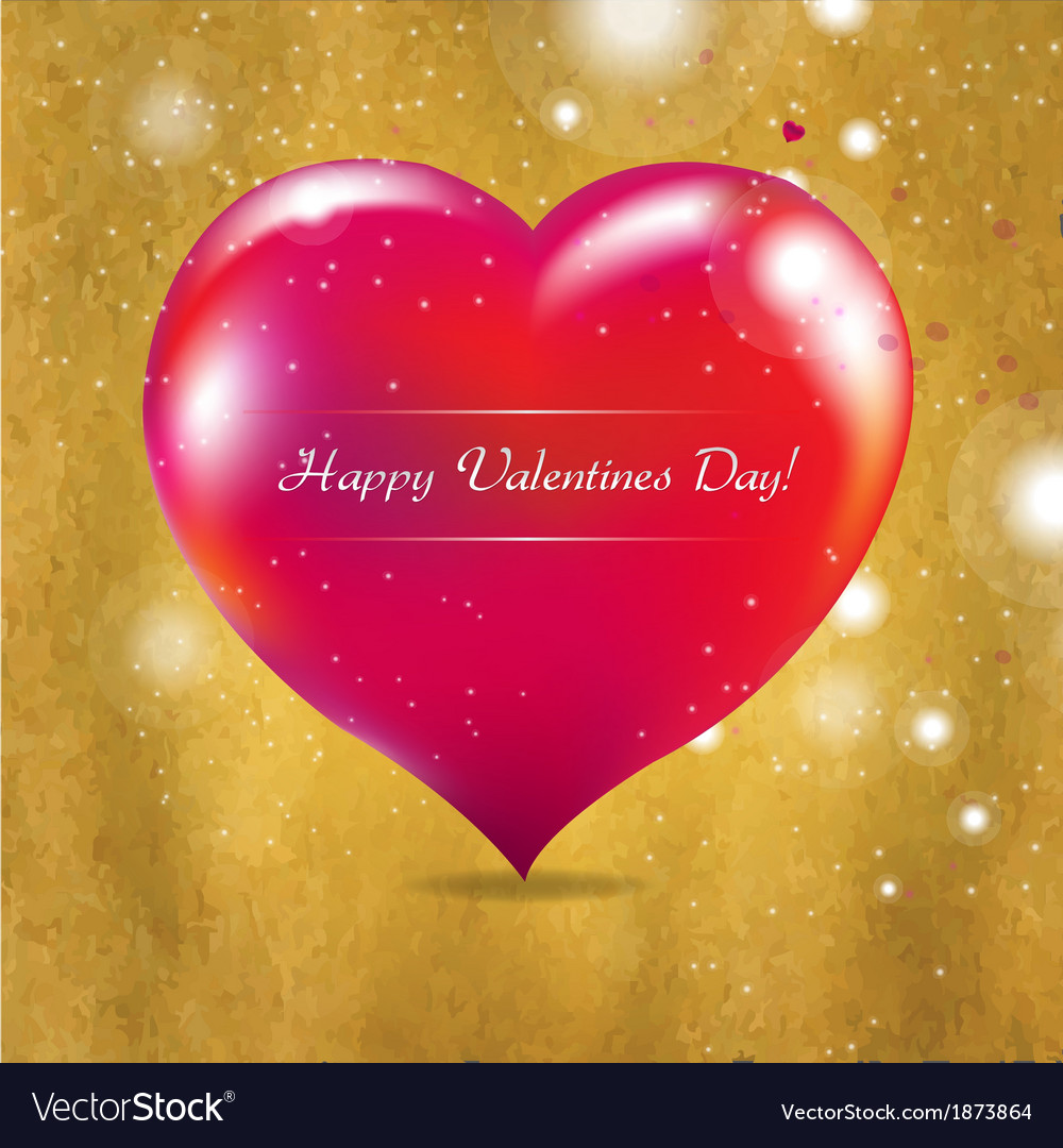 Vintage valentines day card with red heart vector | Price: 1 Credit (USD $1)