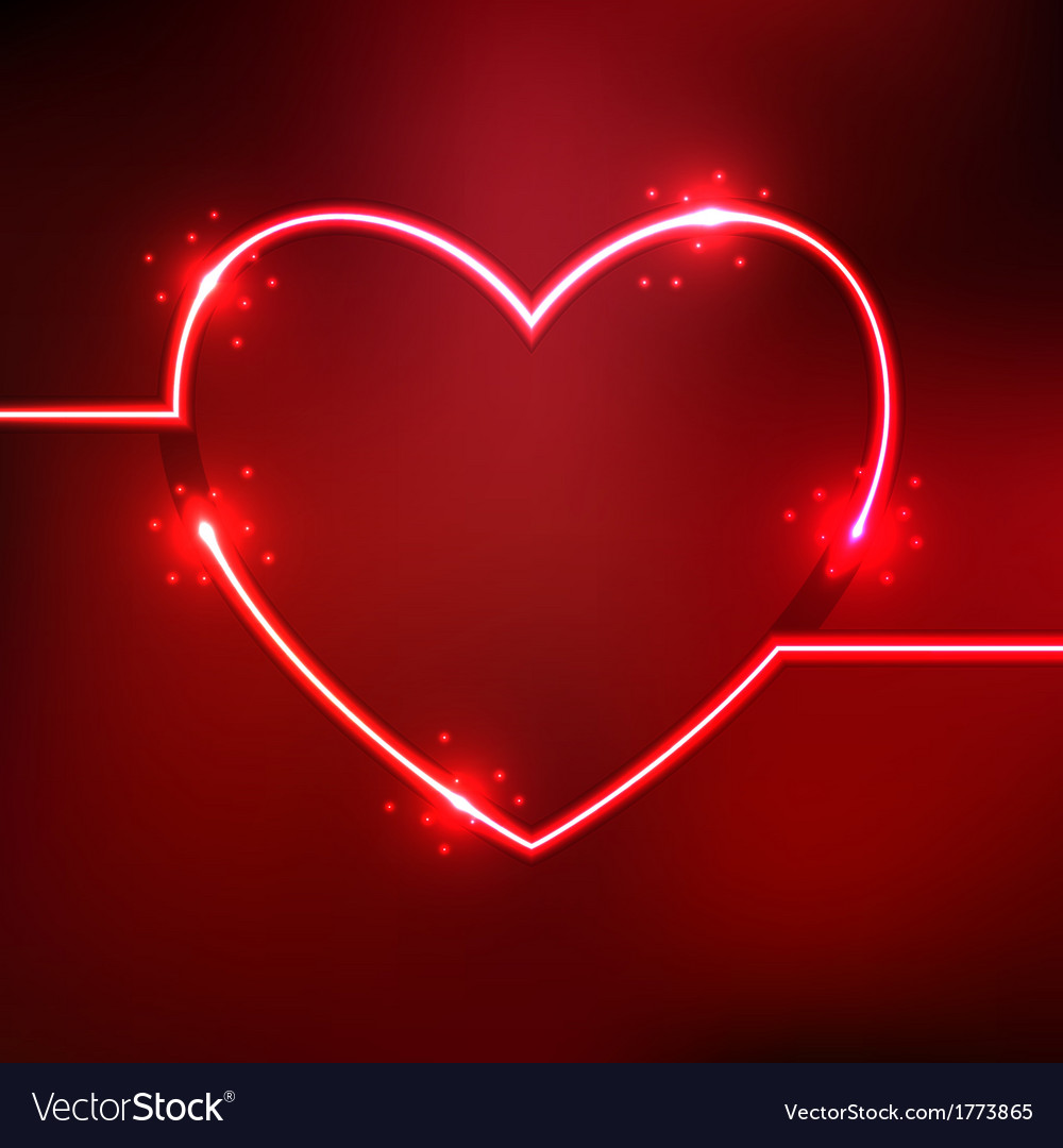 Abstract background with heart shape neon lines vector | Price: 1 Credit (USD $1)