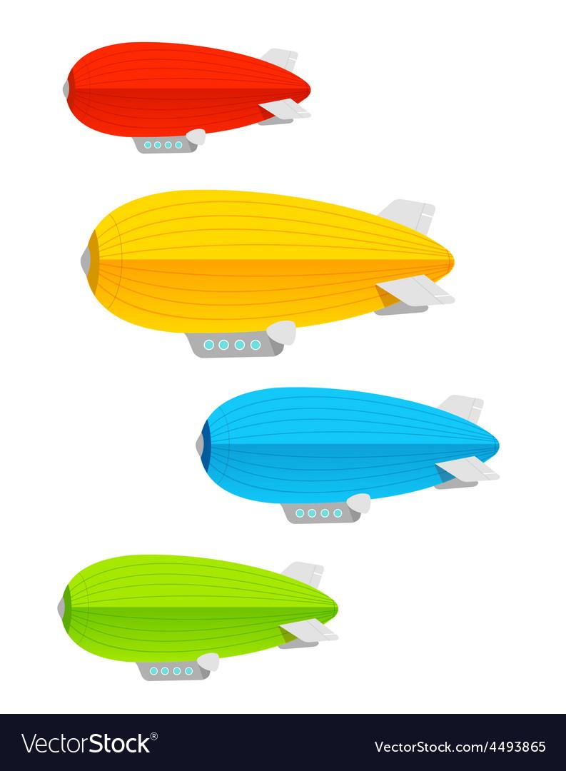 Airship colorful set vector | Price: 1 Credit (USD $1)