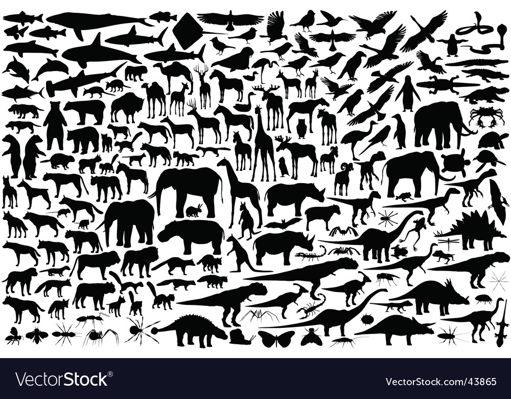 Animal silhouettes vector | Price: 1 Credit (USD $1)