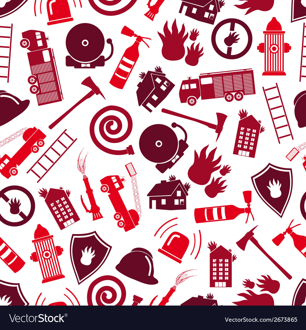 Fire brigade red color seamless pattern eps10 vector | Price: 1 Credit (USD $1)