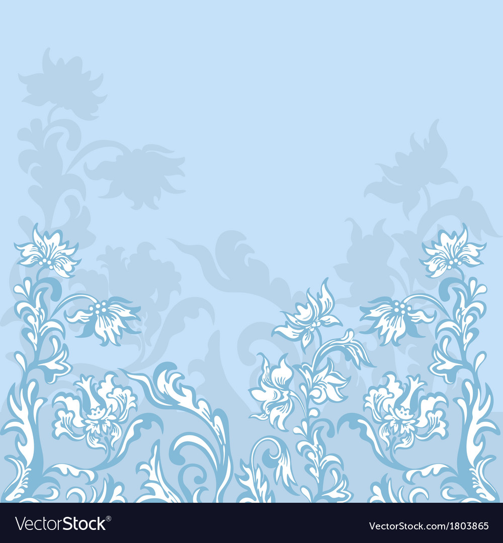 Floral background blue vector | Price: 1 Credit (USD $1)