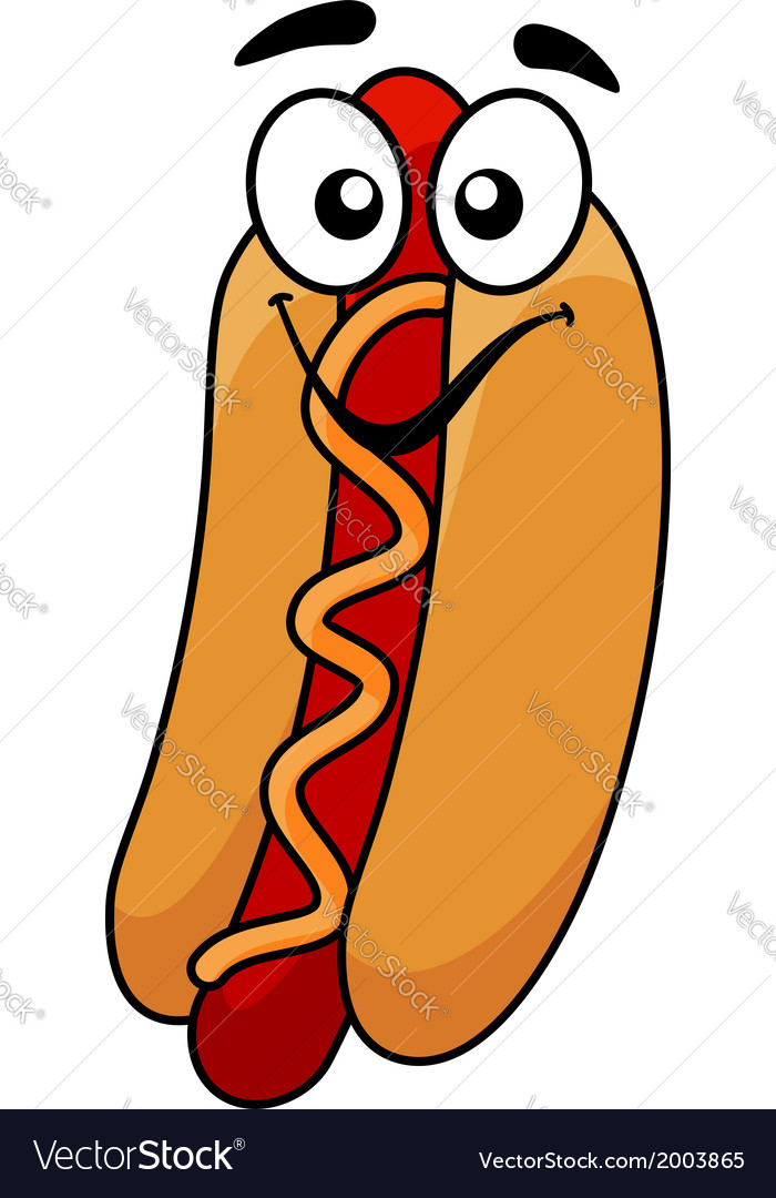 Fun hot dog and mustard vector | Price: 1 Credit (USD $1)