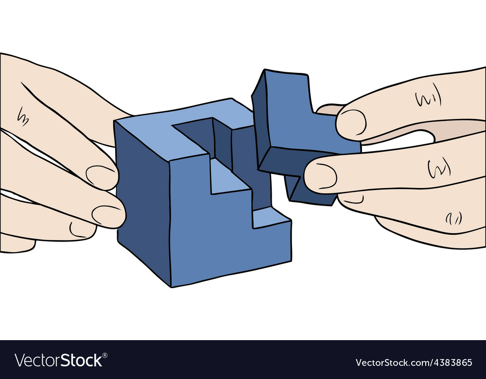 Human hands assembling blue cube vector   Price: 1 Credit (USD $1)