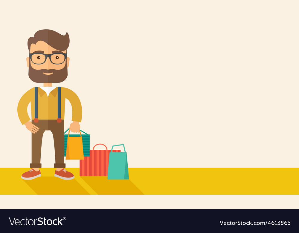 Man who go shopping vector | Price: 1 Credit (USD $1)