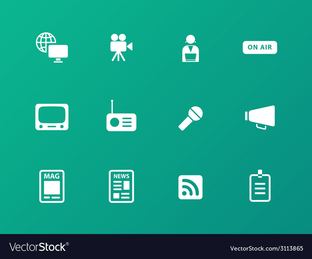 Media icons on green background vector | Price: 1 Credit (USD $1)